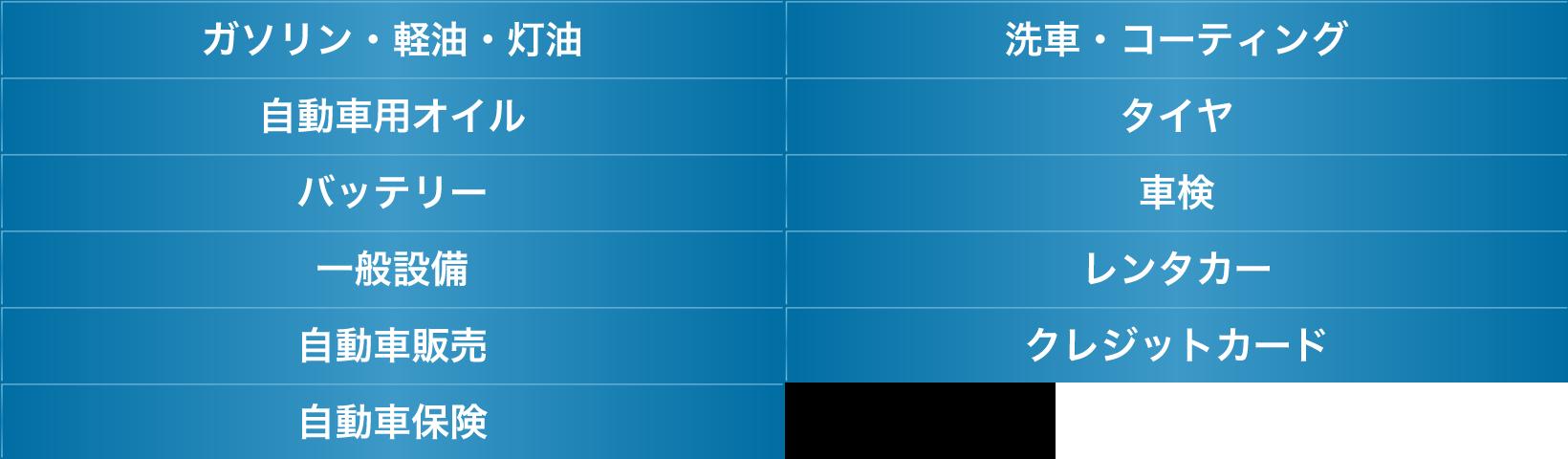 ガソリン・経由・灯油 洗車・コーティング              自動車用オイル タイヤ バッテリー 車検 一般設備 レンタカー 自動車販売 クレジットカード 自動車保険